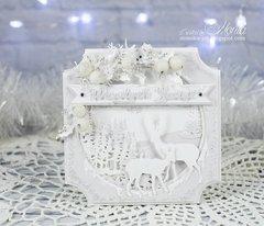 Winter card with deers