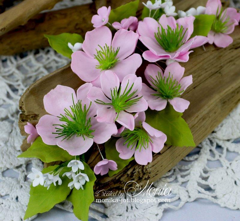 Pink foamiran flowers