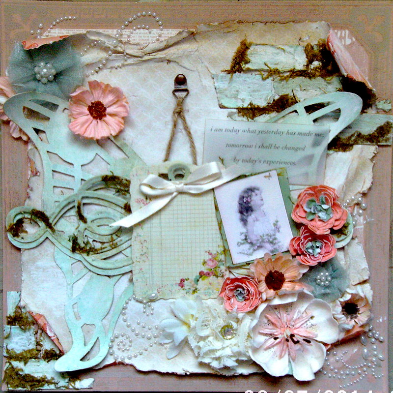 Vintage Butterfly shabby chic scrapbook page/craft