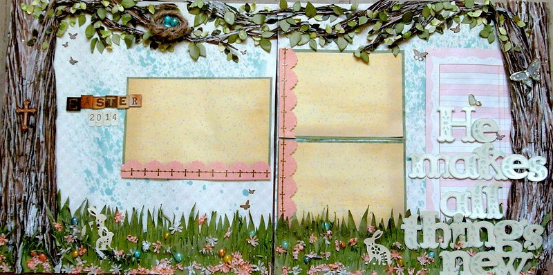 Easter two page scrapbook Layout- Cricut