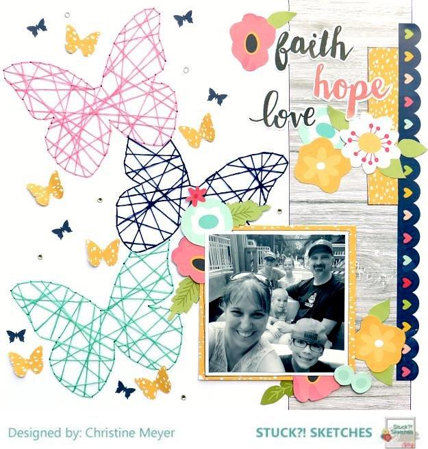 Faith, Hope, Love - String Art Layout