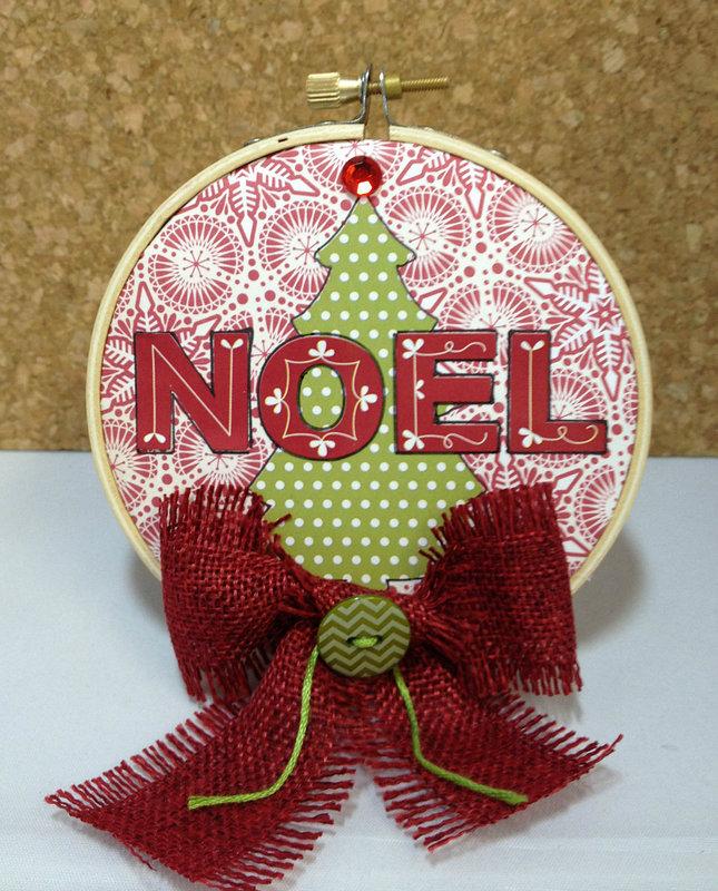 Noel Embroidery Hoop Ornament