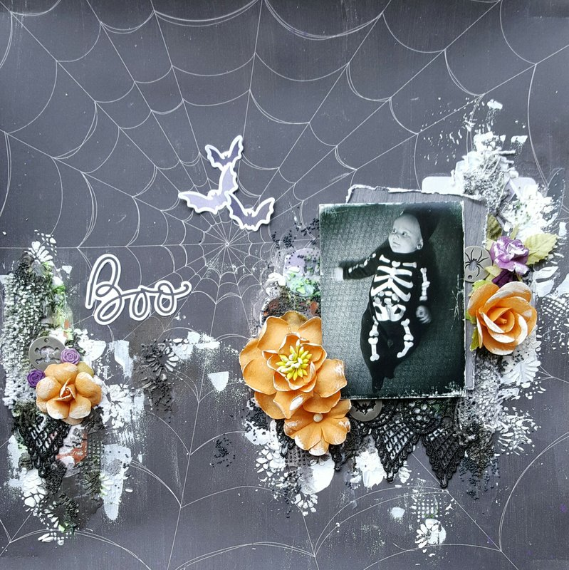 """""""Boo"""" Layout - Scraps of Darkness October, 2017 Kit"""