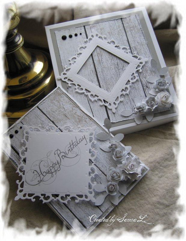 VINTAGE SHABBY CHIC CARD-HAPPY BIRTHDAY Gray