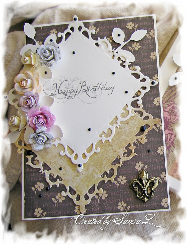 VINTAGE SHABBY CHIC CARD-HAPPY BIRTHDAY BROWN
