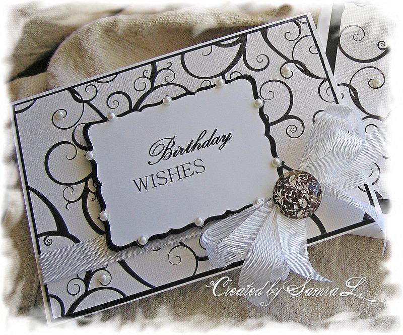 ELEGANT HAPPY BIRTHDAY CARD-BLACK AND WHITE