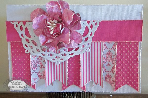 Pink Pennant Card - Couture Creations