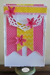 Pink & Yellow Embossed Card - Couture Creations