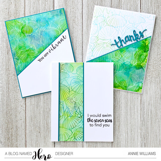 Ocean Life Card Trio with Alcohol Pearls