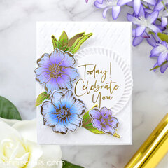 Pretty Floral Foiled Card
