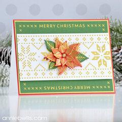 Classic Foiled Christmas Poinsettia Card