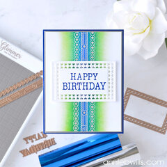 Foiled Birthday Card in Blues and Greens