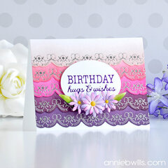 Foiled Birthday Card in Pinks and Purples