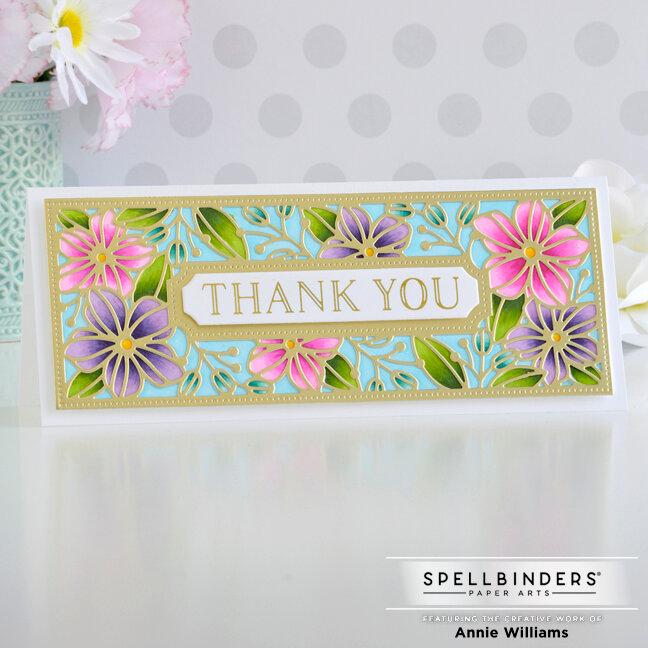 Floral Slimline Thank You Card