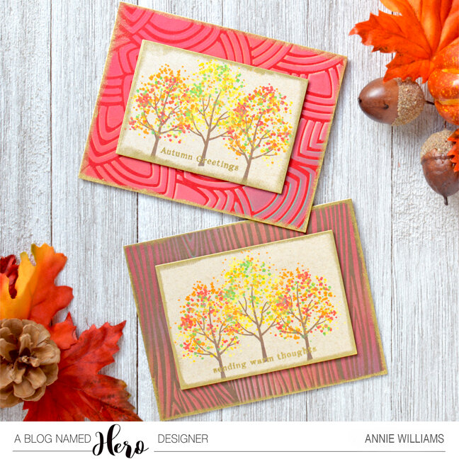 Stamped and Stenciled Autumn Cards