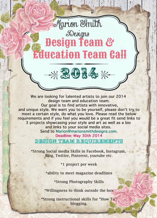 Design team call 2014 for Marion Smith Designs