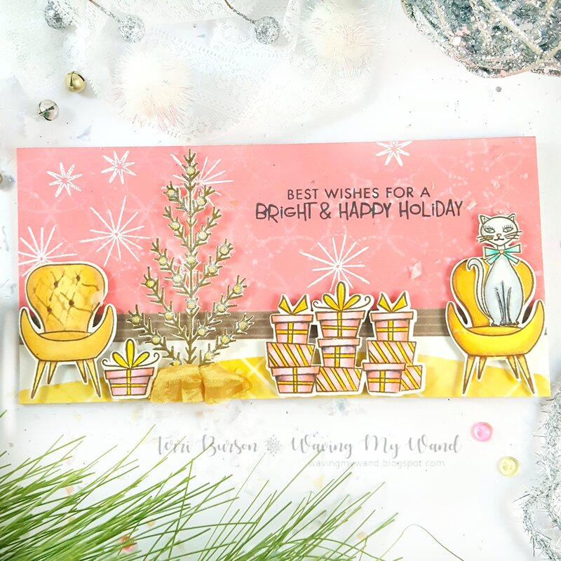 Pink & Gold Christmas Card