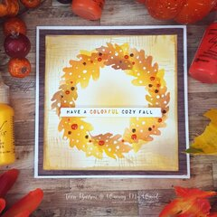 Stenciled Autumn Wreath card w/new Ranger products