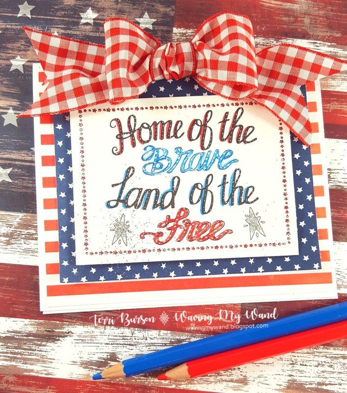 Patriotic Card featuring Adornit and Pebbles Inc