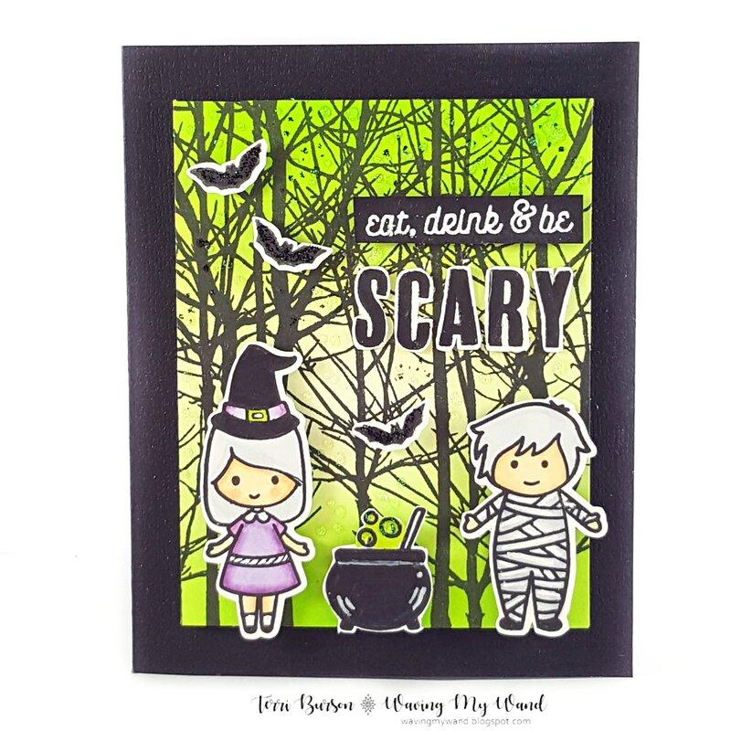 Halloween Card with Eerie Sky Ink Blending
