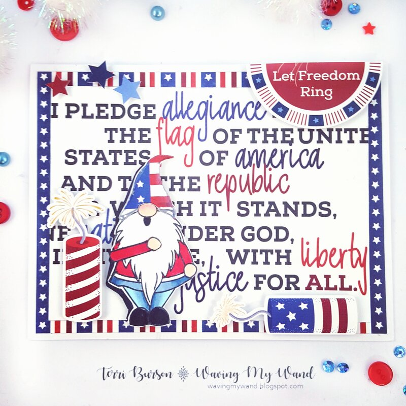 Patriotic Gnome Card with Photo Play Paper