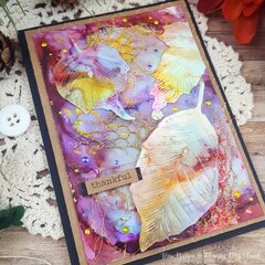 Autumn Leaves Alcohol Ink Card