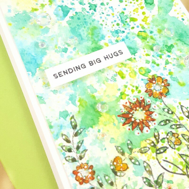 Masked / Stamped/ Watercolor Floral Border Card