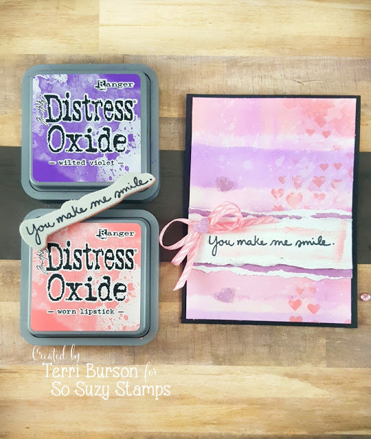 Distress Oxide Watercolored Card with Stenciling and Foam Hearts