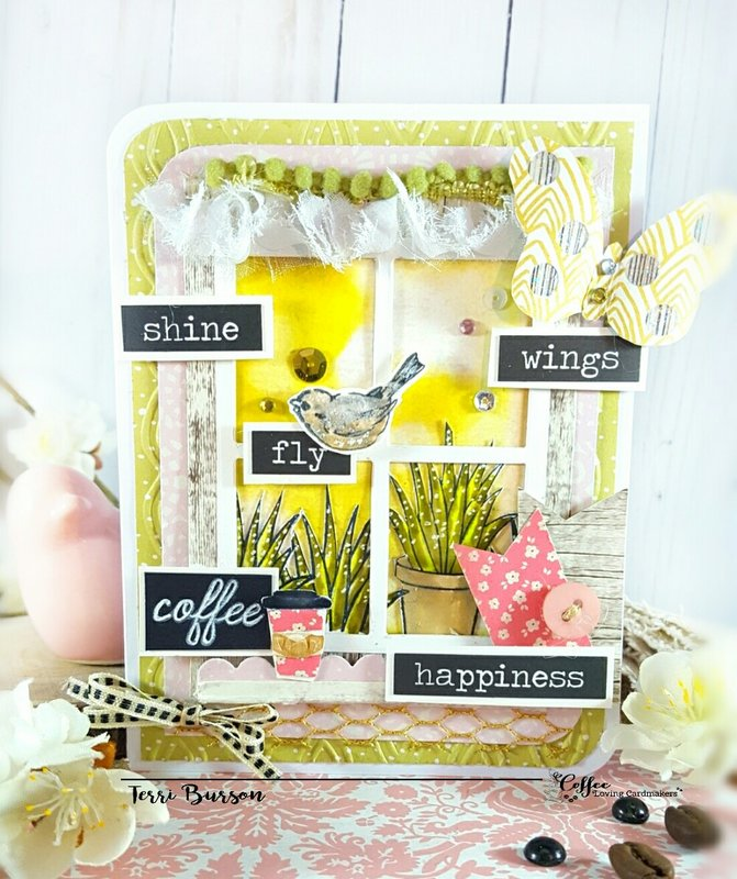 Spring Window Scene for Coffee Loving Cardmakers