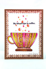 Coffee Card with Coloring Book Image