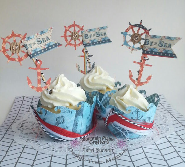 Nautical Cupcake Wrappers with Graphic 45 and May Arts Ribbon