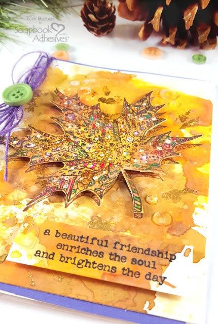 Autumn Leaf Card With Mottled Foil Technique