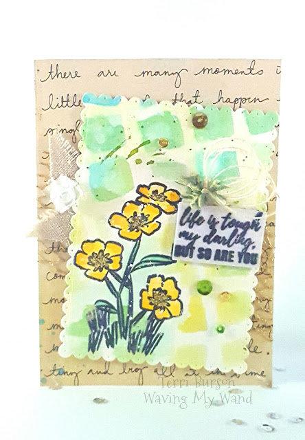 Watercolor Stenciled Encouragement Card