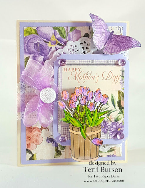 Mother's Day Card with Graphic 45 and Two Paper Divas Stamps