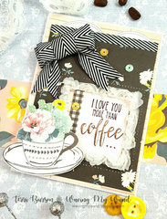 Coffee Card with Crate Paper Bloom and Hampton Art Stamp