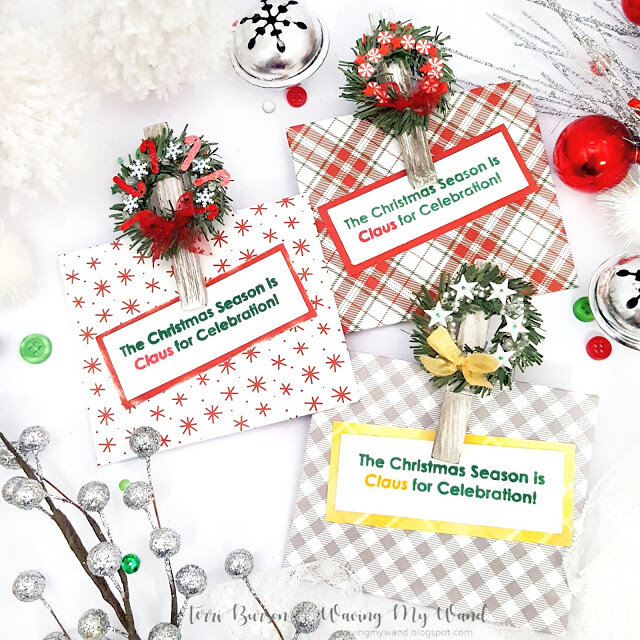 DIY Holiday Wreath Clips w/Gift card Envelopes