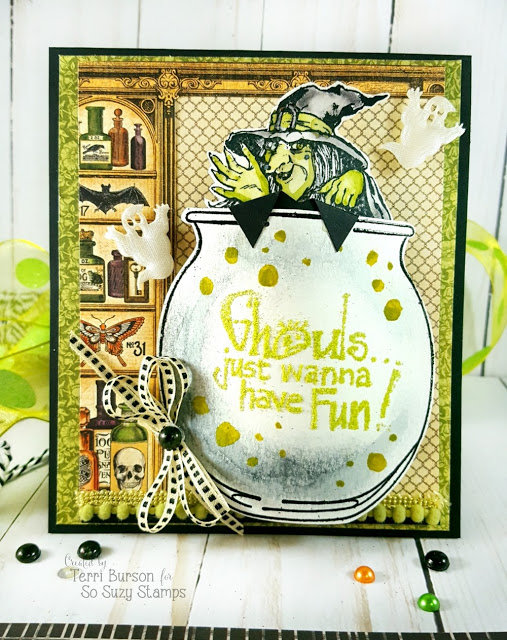 Witchy Halloween Card - Flip a Snowglobe for a Cauldron!