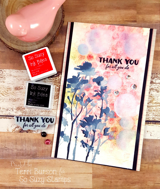 Stencil and Faux Stenciled Thank You Card