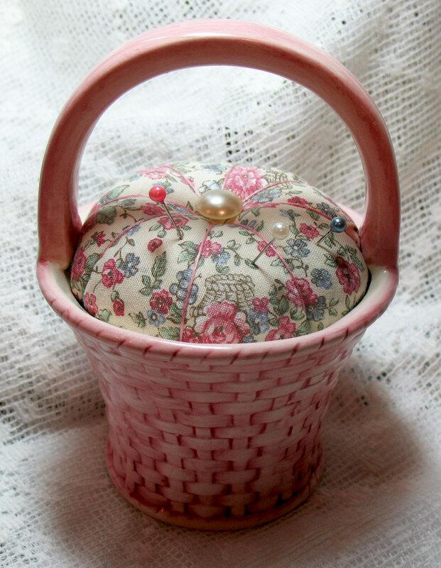 Pincushion in a ceramic basket