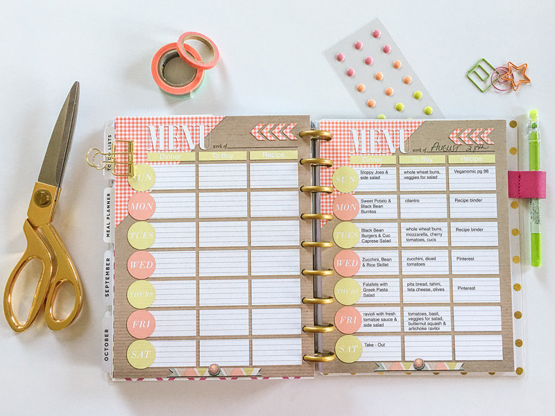 Menu Planner for Mambi Happy Planner