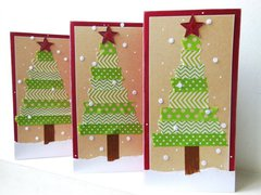 Washi tape Christmas Tree cards | Diana Poirier