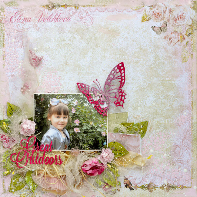 "Blue Fern Studios - ""Little princess roses"" layout"