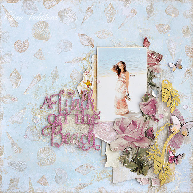 "Blue Fern Studios - ""A Walk on the Beach"" layout"