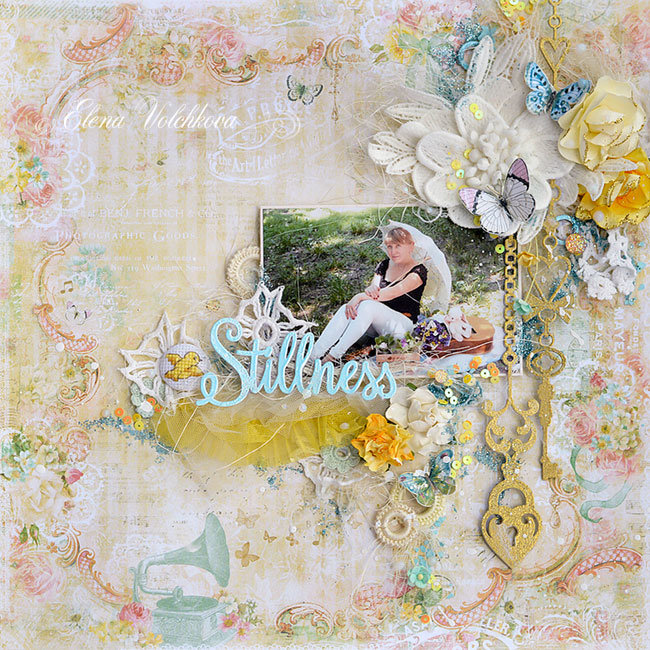 "Blue Fern Studios -  ""Romance with umbrella"" layout"