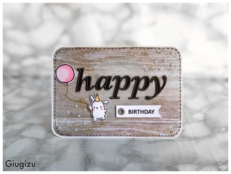 Bunny & Balloon Birthday card
