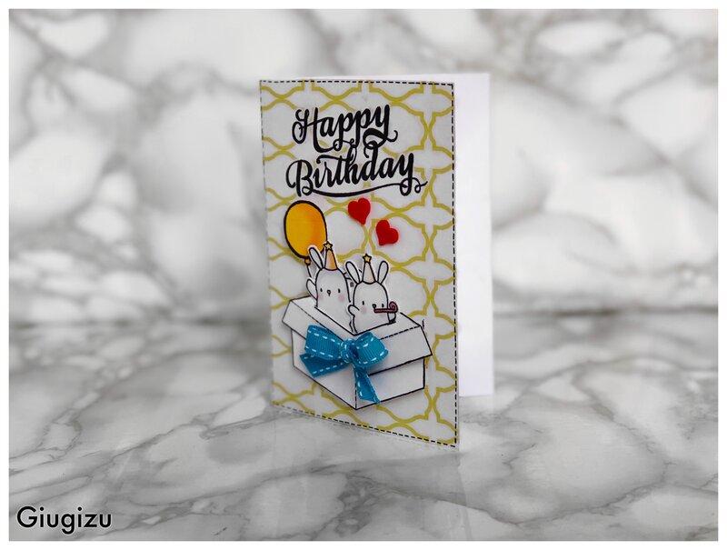 Bunnies in a box birthday card