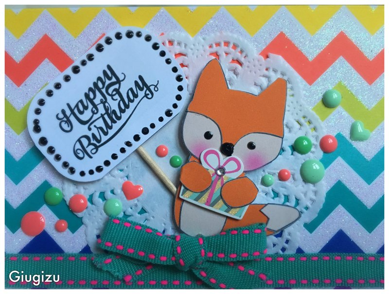 Paper Fox Birthday card
