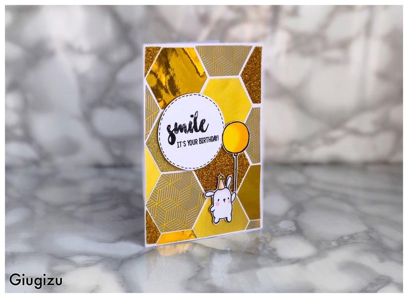 Gold hexagons birthday card