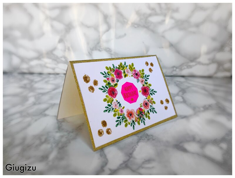 Glitter and flowers birthday card