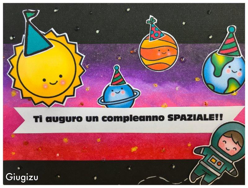 Planets and astronaut handmade birthday card